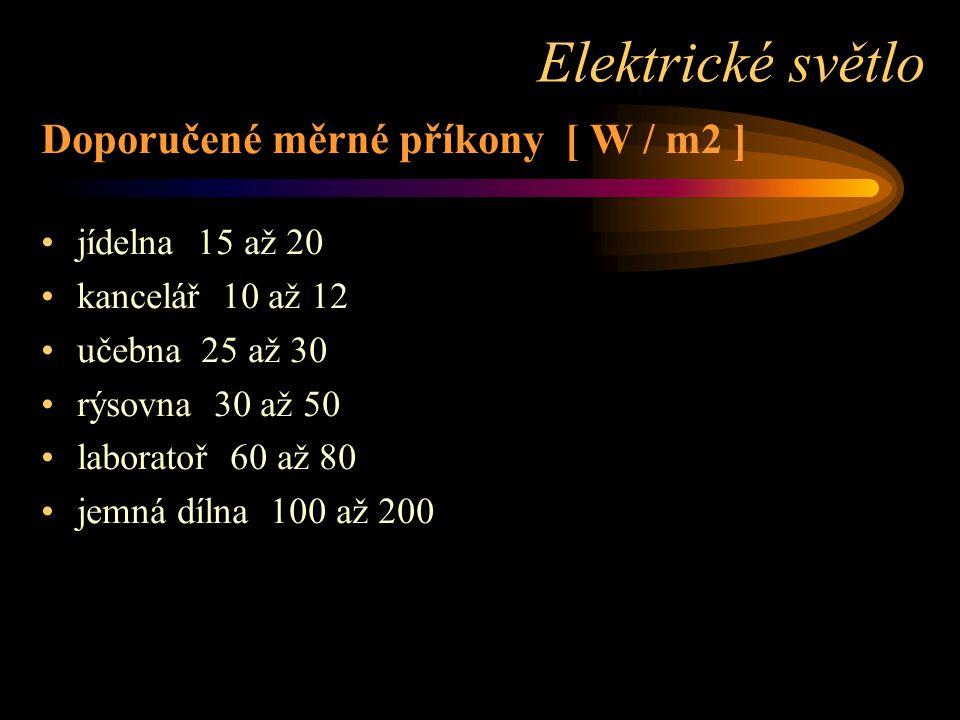Doporučené měrné příkony [ W / m2 ] jídelna 15 až 20 kancelář 10 až 12 učebna 25 až 30 rýsovna 30 až 50 laboratoř 60 až 80 jemná dílna 100 až 200 Elektrické světlo