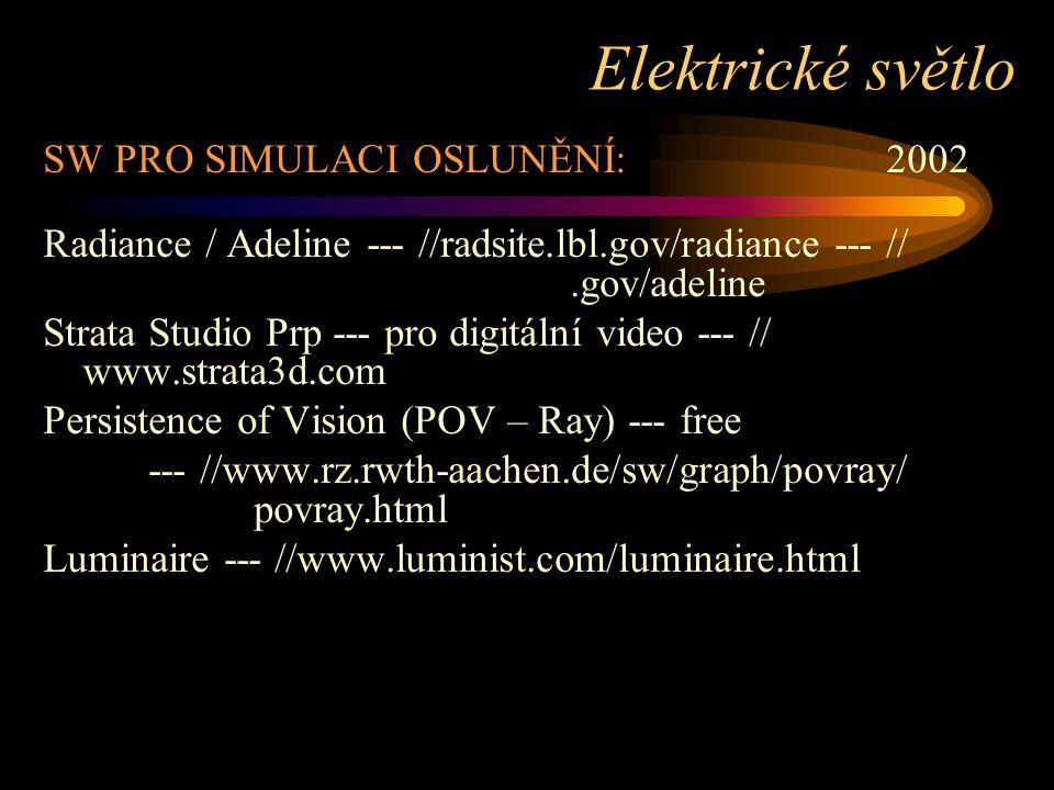 SW PRO SIMULACI OSLUNĚNÍ:2002 Radiance / Adeline --- //radsite.lbl.gov/radiance --- //.gov/adeline Strata Studio Prp --- pro digitální video --- // ww