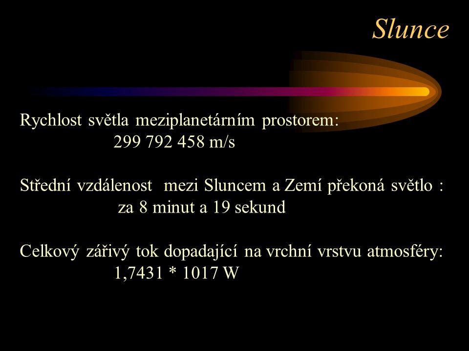 Rychlost světla meziplanetárním prostorem: 299 792 458 m/s Střední vzdálenost mezi Sluncem a Zemí překoná světlo : za 8 minut a 19 sekund Celkový zářivý tok dopadající na vrchní vrstvu atmosféry: 1,7431 * 1017 W Slunce