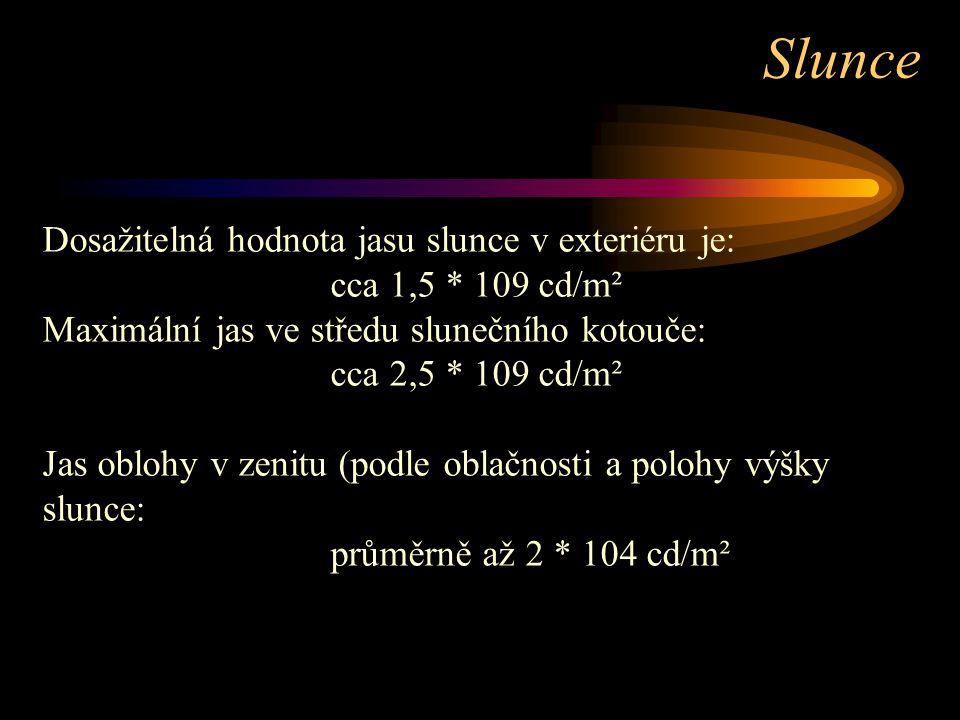 Dosažitelná hodnota jasu slunce v exteriéru je: cca 1,5 * 109 cd/m² Maximální jas ve středu slunečního kotouče: cca 2,5 * 109 cd/m² Jas oblohy v zenit