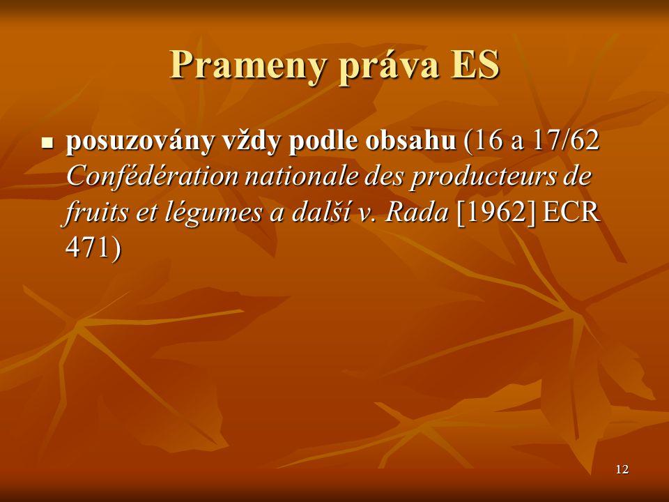 12 Prameny práva ES posuzovány vždy podle obsahu (16 a 17/62 Confédération nationale des producteurs de fruits et légumes a další v.
