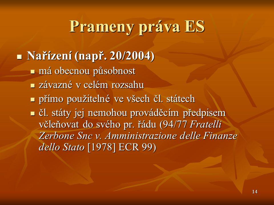 14 Prameny práva ES Nařízení (např. 20/2004) Nařízení (např.