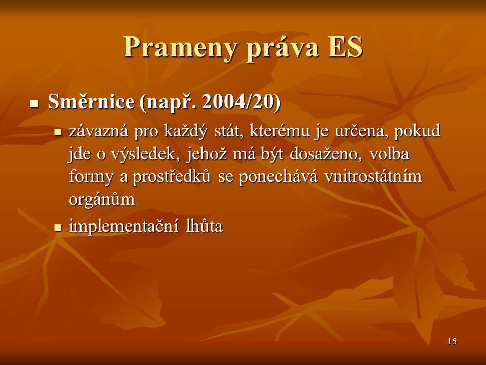 15 Prameny práva ES Směrnice (např. 2004/20) Směrnice (např.