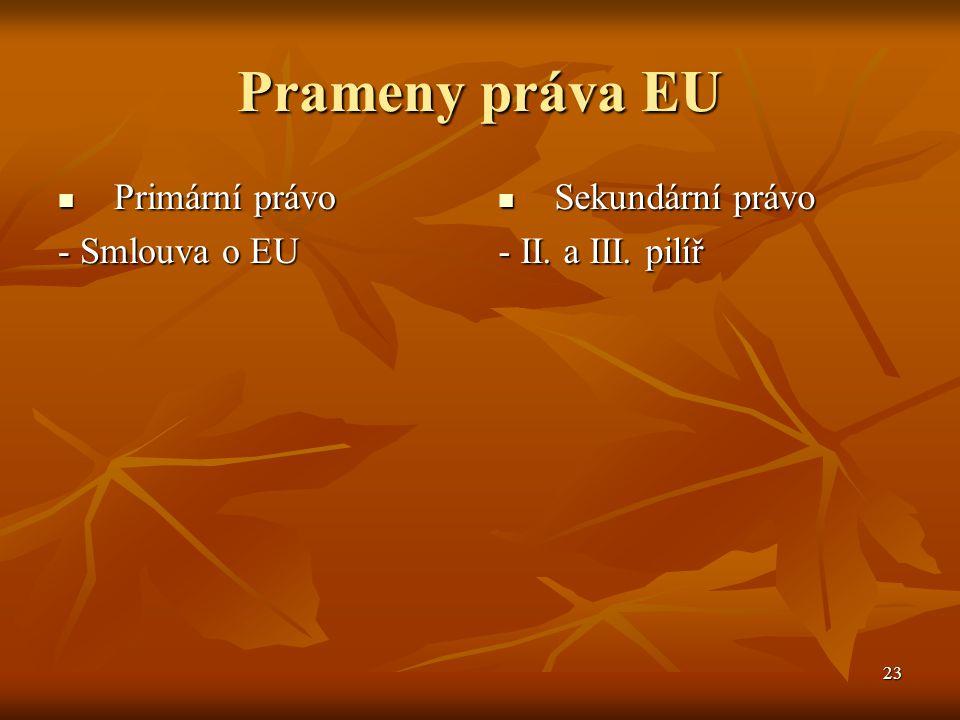 23 Prameny práva EU Primární právo Primární právo - Smlouva o EU Sekundární právo Sekundární právo - II.