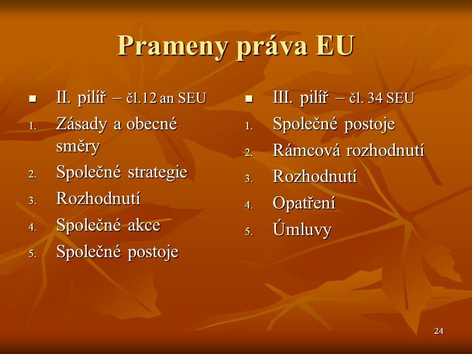 24 Prameny práva EU II. pilíř – čl.12 an SEU II. pilíř – čl.12 an SEU 1.