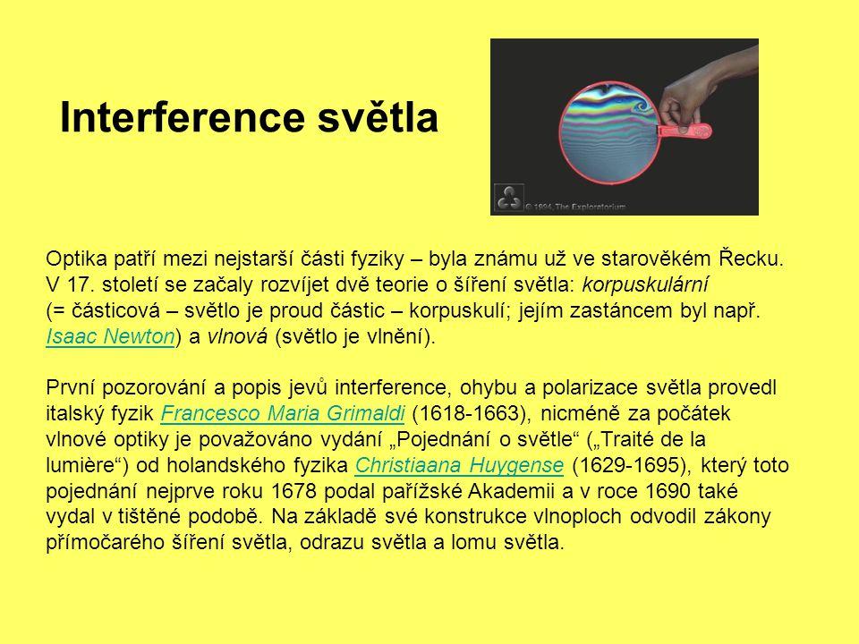 Interference světla Optika patří mezi nejstarší části fyziky – byla známu už ve starověkém Řecku. V 17. století se začaly rozvíjet dvě teorie o šíření