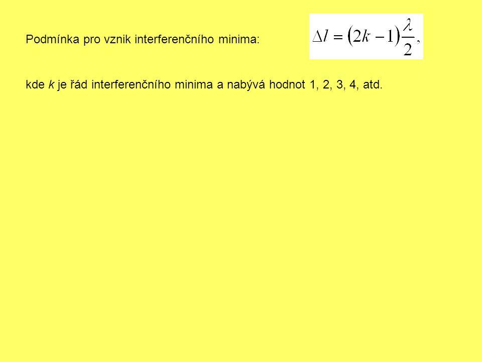 Podmínka pro vznik interferenčního minima: kde k je řád interferenčního minima a nabývá hodnot 1, 2, 3, 4, atd.