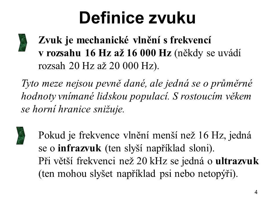 4 Zvuk je mechanické vlnění s frekvencí v rozsahu 16 Hz až 16 000 Hz (někdy se uvádí rozsah 20 Hz až 20 000 Hz). Tyto meze nejsou pevně dané, ale jedn