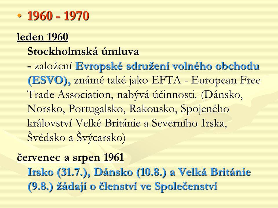 1960 - 19701960 - 1970 leden 1960 Stockholmská úmluva - založení Evropské sdružení volného obchodu (ESVO), známé také jako EFTA - European Free Trade