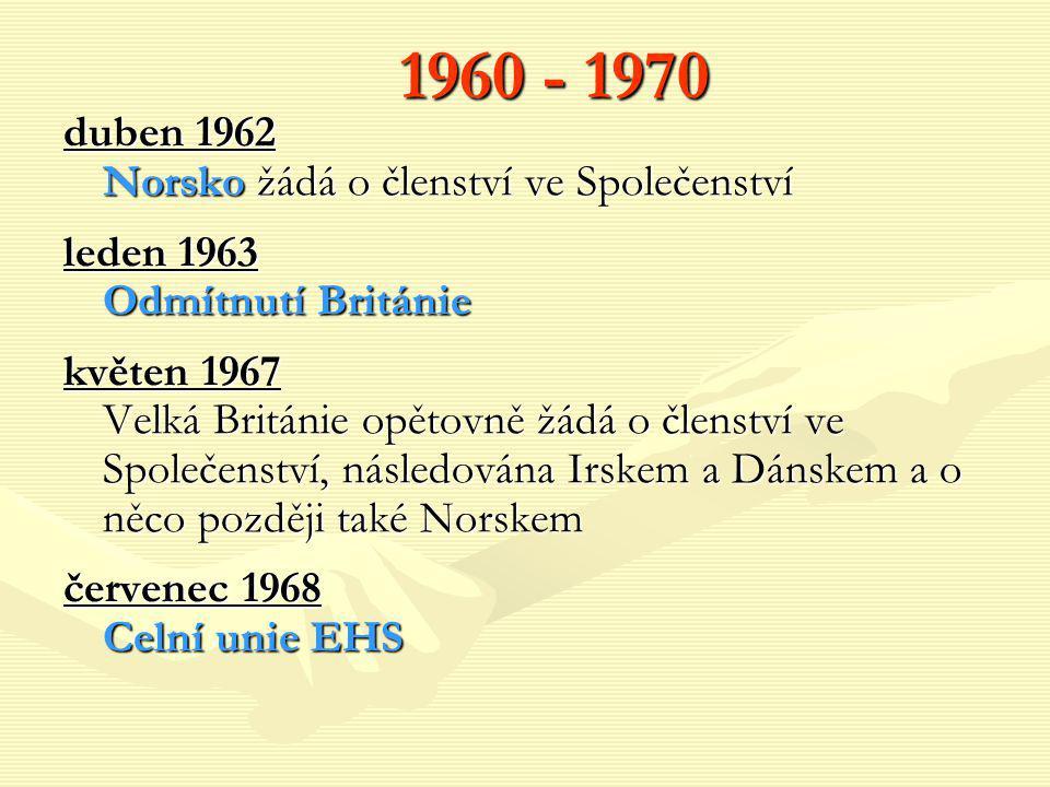 1960 - 1970 duben 1962 Norsko žádá o členství ve Společenství leden 1963 Odmítnutí Británie květen 1967 Velká Británie opětovně žádá o členství ve Spo
