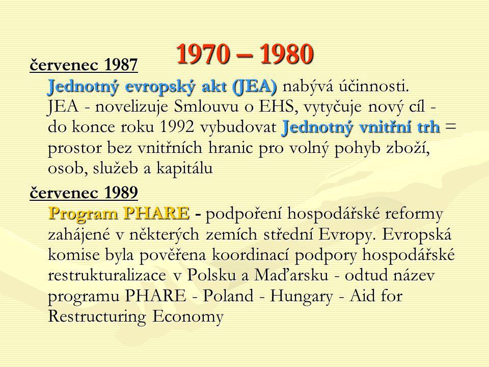 1970 – 1980 červenec 1987 Jednotný evropský akt (JEA) nabývá účinnosti. JEA - novelizuje Smlouvu o EHS, vytyčuje nový cíl - do konce roku 1992 vybudov