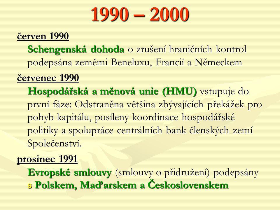 1990 – 2000 červen 1990 Schengenská dohoda o zrušení hraničních kontrol podepsána zeměmi Beneluxu, Francií a Německem červenec 1990 Hospodářská a měno