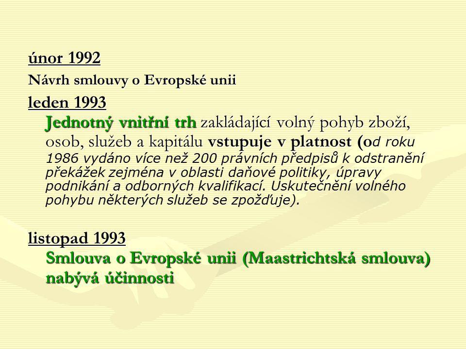 únor 1992 Návrh smlouvy o Evropské unii leden 1993 Jednotný vnitřní trh zakládající volný pohyb zboží, osob, služeb a kapitálu vstupuje v platnost (o
