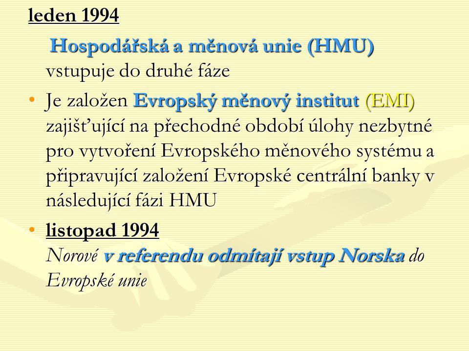 leden 1994 Hospodářská a měnová unie (HMU) vstupuje do druhé fáze Hospodářská a měnová unie (HMU) vstupuje do druhé fáze Je založen Evropský měnový in