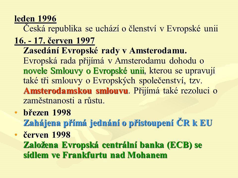 leden 1996 Česká republika se uchází o členství v Evropské unii 16. - 17. červen 1997 Zasedání Evropské rady v Amsterodamu. Evropská rada přijímá v Am