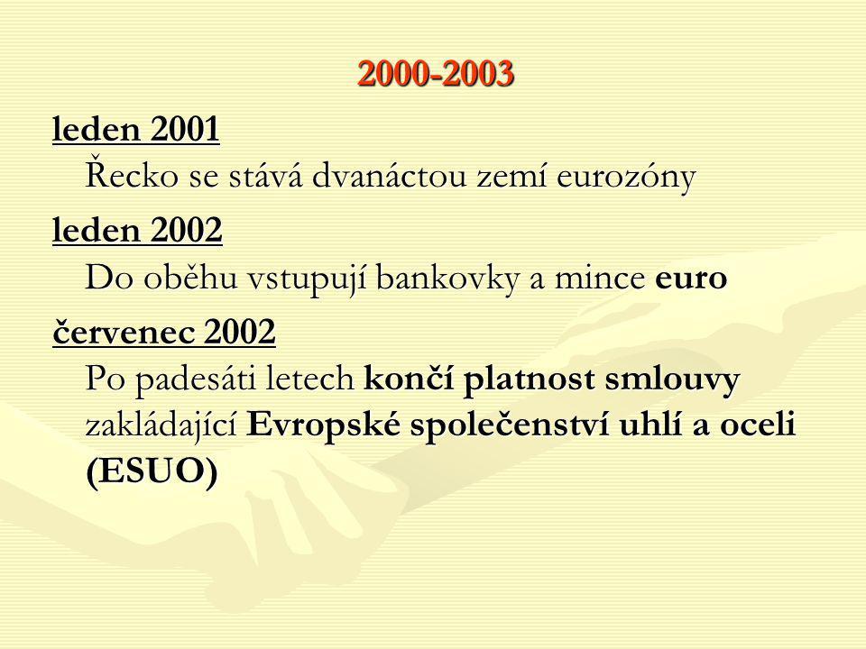 2000-2003 leden 2001 Řecko se stává dvanáctou zemí eurozóny leden 2002 Do oběhu vstupují bankovky a mince euro červenec 2002 Po padesáti letech končí