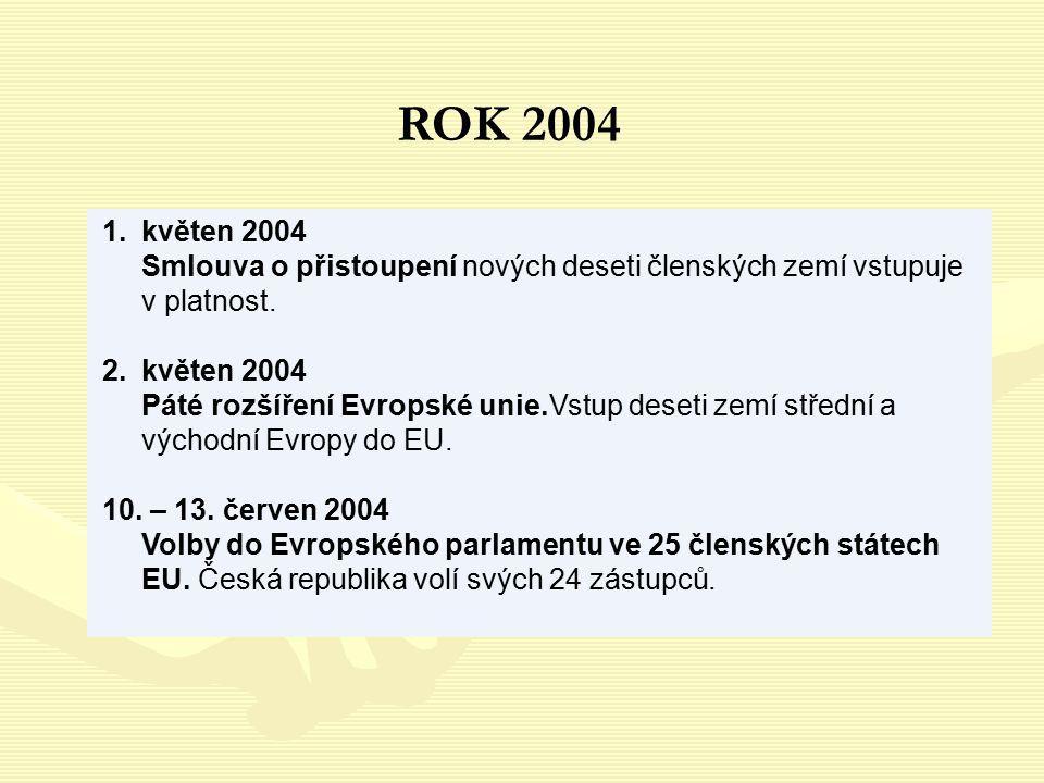 1.květen 2004 Smlouva o přistoupení nových deseti členských zemí vstupuje v platnost. 2.květen 2004 Páté rozšíření Evropské unie.Vstup deseti zemí stř