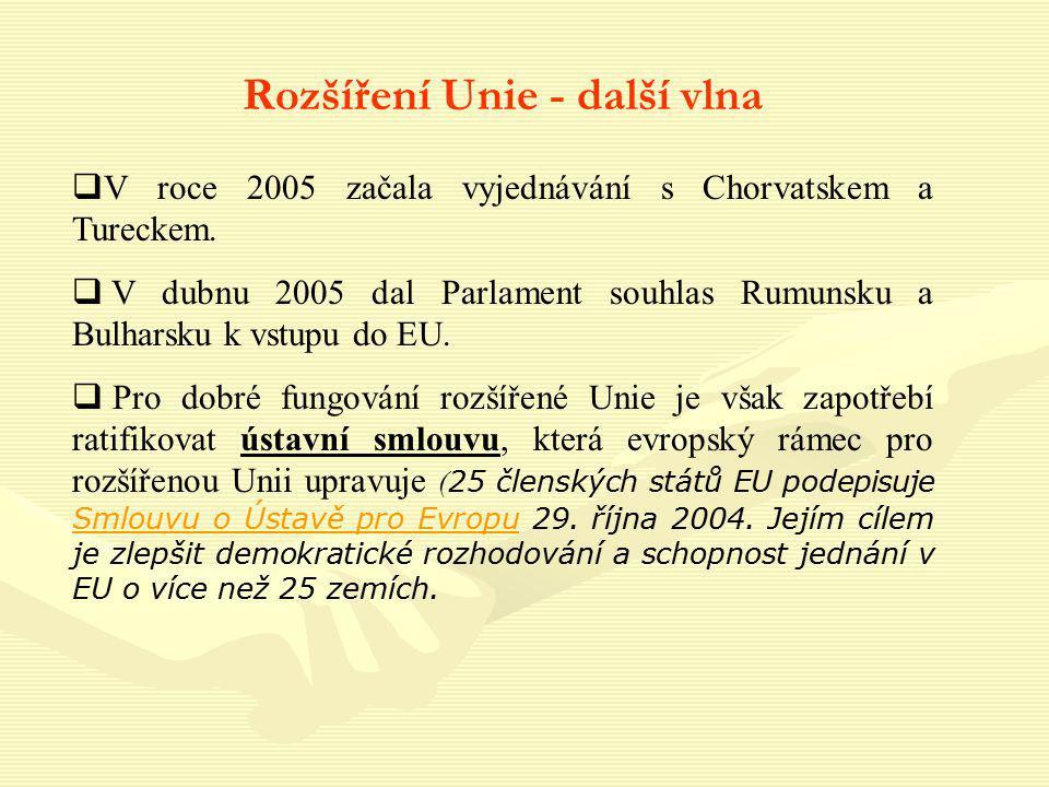 Rozšíření Unie - další vlna  V roce 2005 začala vyjednávání s Chorvatskem a Tureckem.  V dubnu 2005 dal Parlament souhlas Rumunsku a Bulharsku k vst