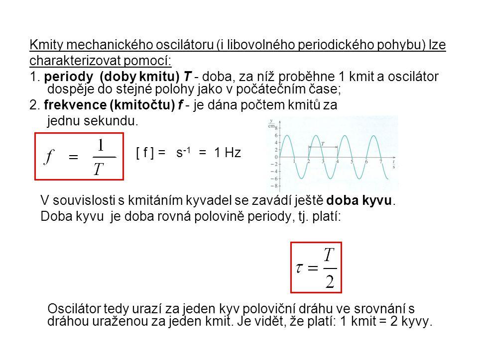 Kmity mechanického oscilátoru (i libovolného periodického pohybu) lze charakterizovat pomocí: 1.