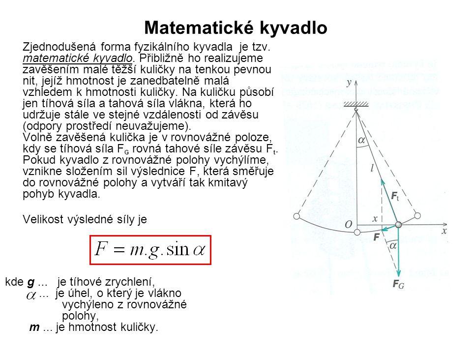 Matematické kyvadlo Zjednodušená forma fyzikálního kyvadla je tzv.