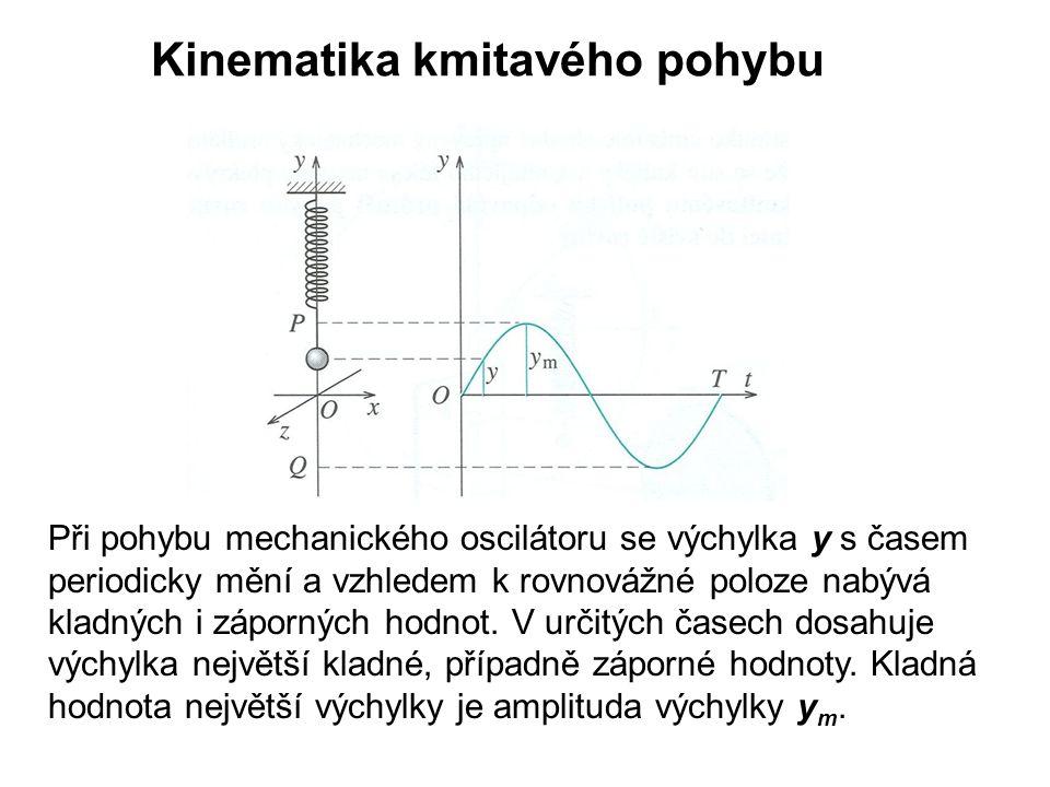 Kinematika kmitavého pohybu Při pohybu mechanického oscilátoru se výchylka y s časem periodicky mění a vzhledem k rovnovážné poloze nabývá kladných i záporných hodnot.