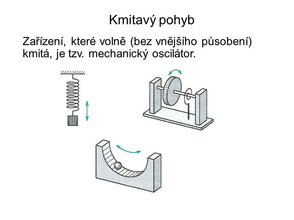 Kmitavý pohyb Zařízení, které volně (bez vnějšího působení) kmitá, je tzv. mechanický oscilátor.