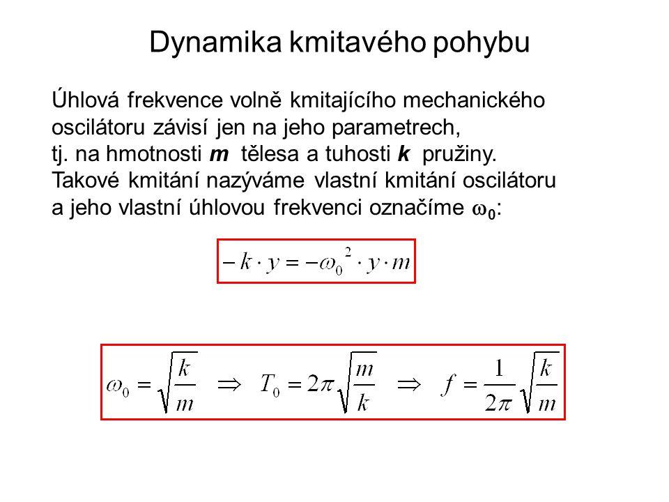 Dynamika kmitavého pohybu Úhlová frekvence volně kmitajícího mechanického oscilátoru závisí jen na jeho parametrech, tj.