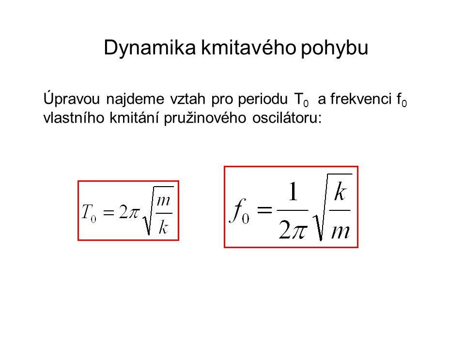Dynamika kmitavého pohybu Úpravou najdeme vztah pro periodu T 0 a frekvenci f 0 vlastního kmitání pružinového oscilátoru: