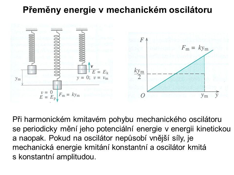 Přeměny energie v mechanickém oscilátoru Při harmonickém kmitavém pohybu mechanického oscilátoru se periodicky mění jeho potenciální energie v energii kinetickou a naopak.