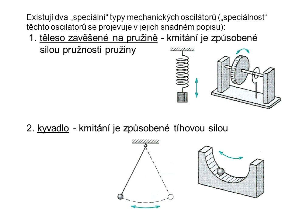 """Existují dva """"speciální typy mechanických oscilátorů (""""speciálnost těchto oscilátorů se projevuje v jejich snadném popisu): 1."""