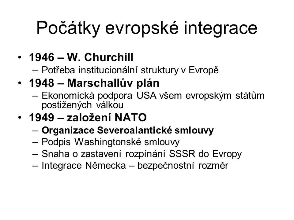 Počátky evropské integrace 1946 – W. Churchill –Potřeba institucionální struktury v Evropě 1948 – Marschallův plán –Ekonomická podpora USA všem evrops