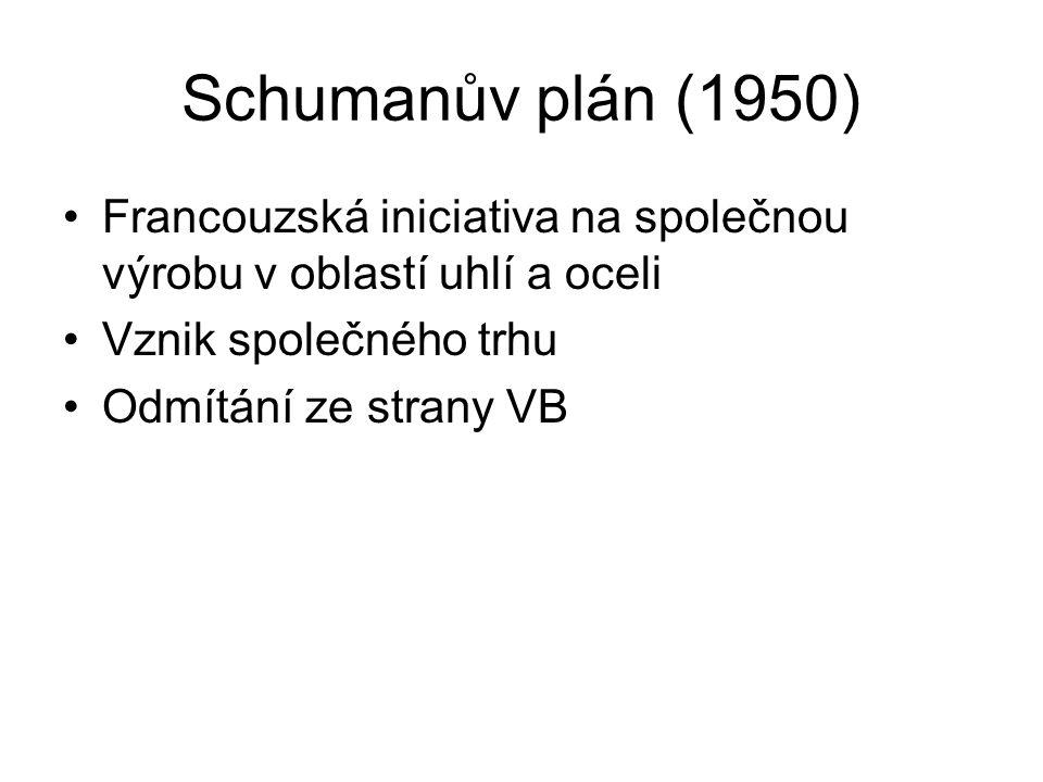 Schumanův plán (1950) Francouzská iniciativa na společnou výrobu v oblastí uhlí a oceli Vznik společného trhu Odmítání ze strany VB