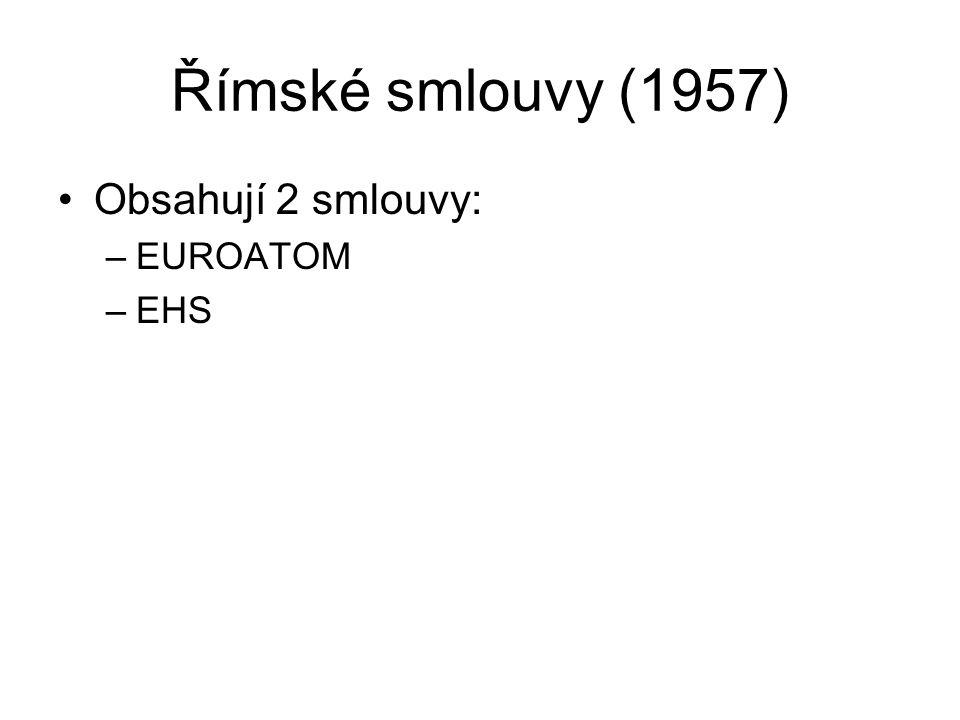 Římské smlouvy (1957) Obsahují 2 smlouvy: –EUROATOM –EHS