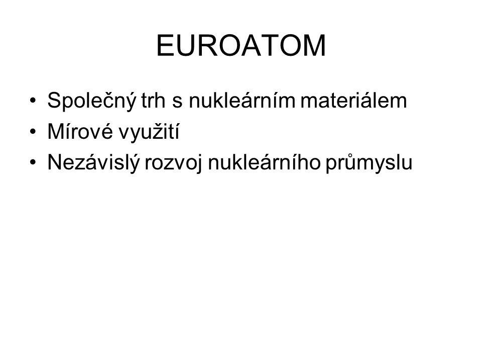 EUROATOM Společný trh s nukleárním materiálem Mírové využití Nezávislý rozvoj nukleárního průmyslu