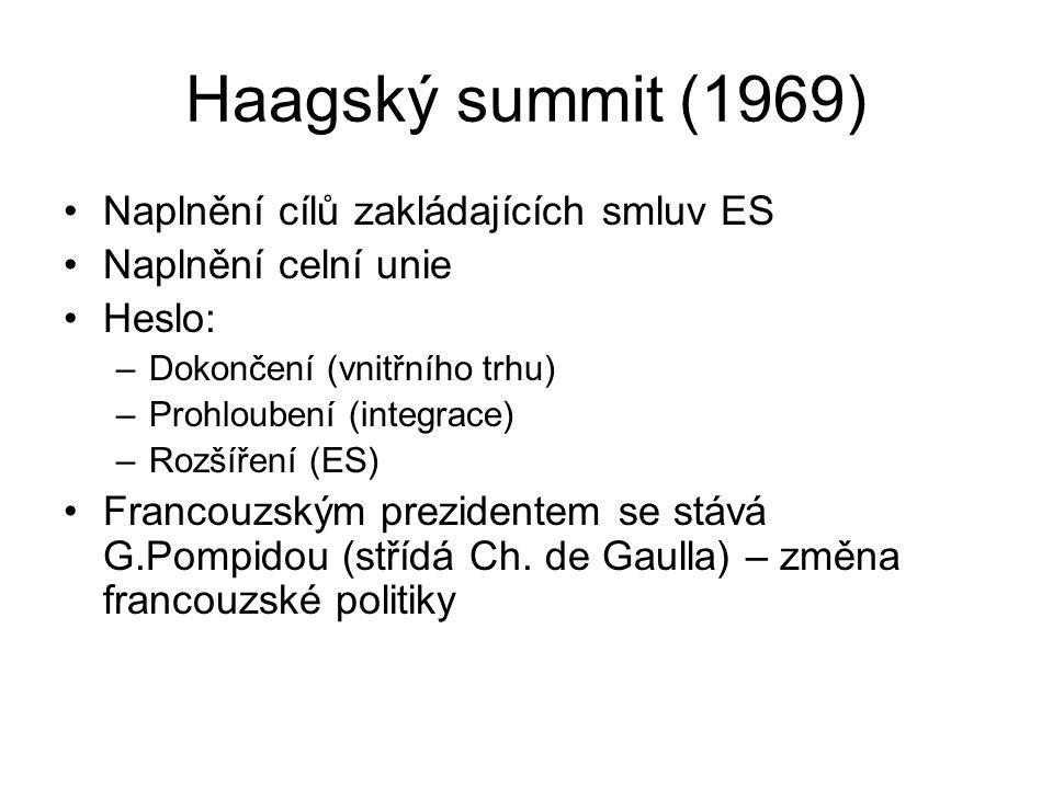 Haagský summit (1969) Naplnění cílů zakládajících smluv ES Naplnění celní unie Heslo: –Dokončení (vnitřního trhu) –Prohloubení (integrace) –Rozšíření