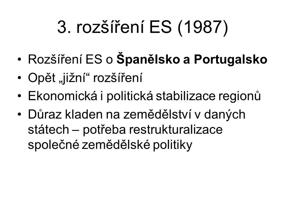 """3. rozšíření ES (1987) Rozšíření ES o Španělsko a Portugalsko Opět """"jižní"""" rozšíření Ekonomická i politická stabilizace regionů Důraz kladen na zemědě"""