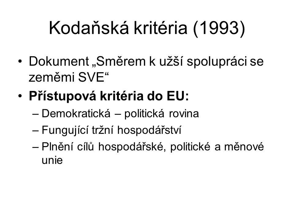 """Kodaňská kritéria (1993) Dokument """"Směrem k užší spolupráci se zeměmi SVE"""" Přístupová kritéria do EU: –Demokratická – politická rovina –Fungující tržn"""