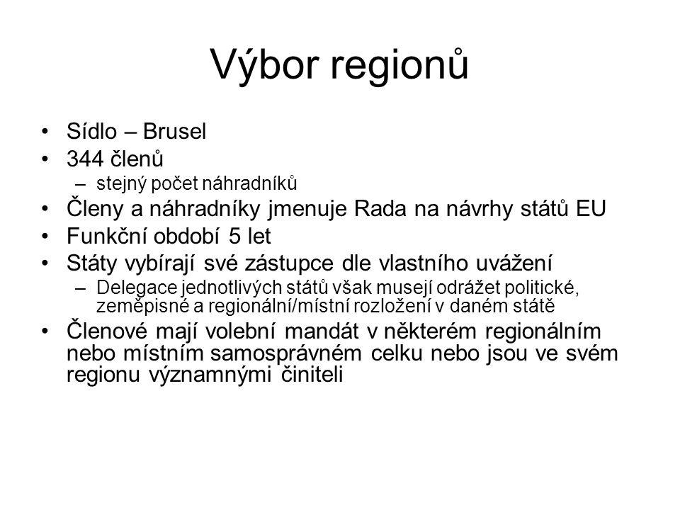 Výbor regionů Sídlo – Brusel 344 členů –stejný počet náhradníků Členy a náhradníky jmenuje Rada na návrhy států EU Funkční období 5 let Státy vybírají