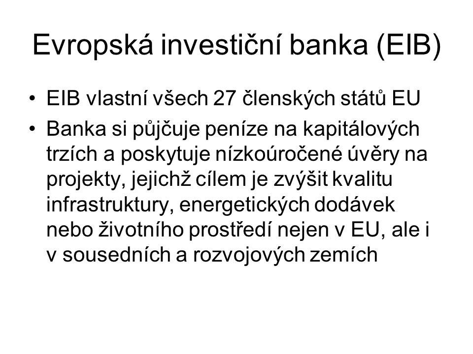 Evropská investiční banka (EIB) EIB vlastní všech 27 členských států EU Banka si půjčuje peníze na kapitálových trzích a poskytuje nízkoúročené úvěry