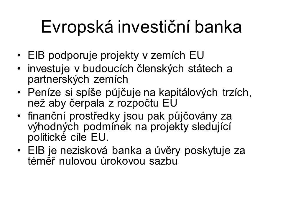 Evropská investiční banka EIB podporuje projekty v zemích EU investuje v budoucích členských státech a partnerských zemích Peníze si spíše půjčuje na