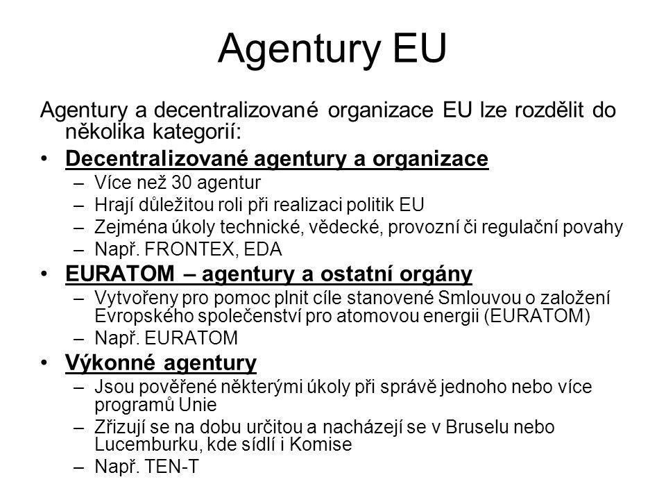 Agentury EU Agentury a decentralizované organizace EU lze rozdělit do několika kategorií: Decentralizované agentury a organizace –Více než 30 agentur