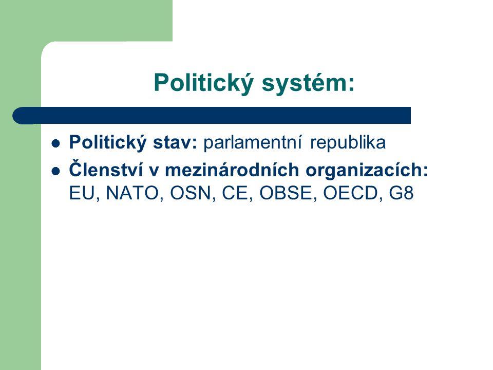 Politický systém: Politický stav: parlamentní republika Členství v mezinárodních organizacích: EU, NATO, OSN, CE, OBSE, OECD, G8