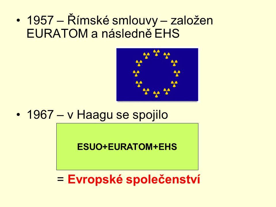 1957 – Římské smlouvy – založen EURATOM a následně EHS 1967 – v Haagu se spojilo = Evropské společenství ESUO+EURATOM+EHS