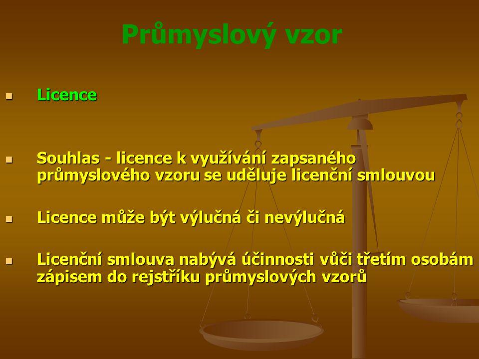 Průmyslový vzor Licence Licence Souhlas - licence k využívání zapsaného průmyslového vzoru se uděluje licenční smlouvou Souhlas - licence k využívání zapsaného průmyslového vzoru se uděluje licenční smlouvou Licence může být výlučná či nevýlučná Licence může být výlučná či nevýlučná Licenční smlouva nabývá účinnosti vůči třetím osobám zápisem do rejstříku průmyslových vzorů Licenční smlouva nabývá účinnosti vůči třetím osobám zápisem do rejstříku průmyslových vzorů
