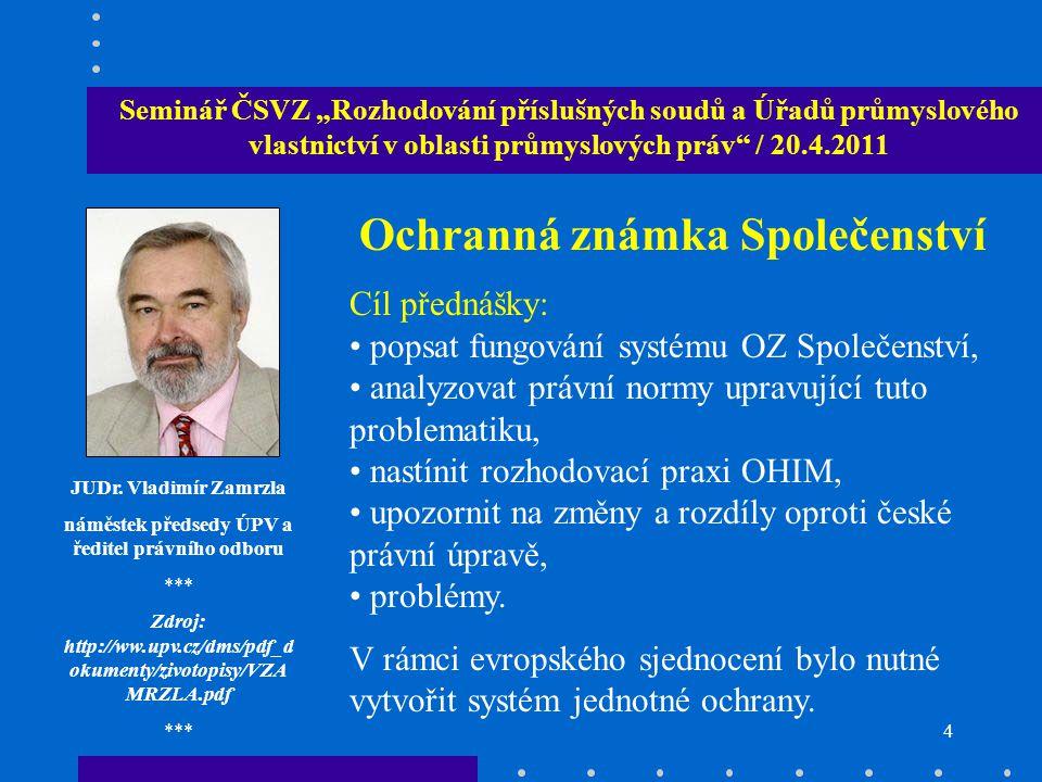 """14 Seminář ČSVZ """"Rozhodování příslušných soudů a Úřadů průmyslového vlastnictví v oblasti průmyslových práv / 20.4.2011 Mgr."""