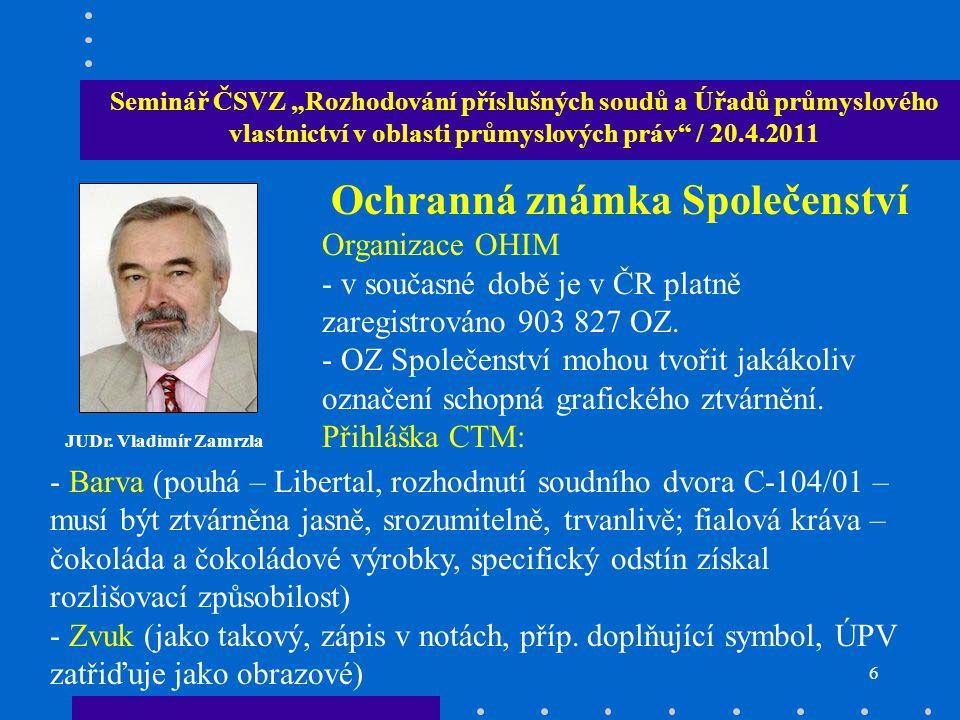 """6 Seminář ČSVZ """"Rozhodování příslušných soudů a Úřadů průmyslového vlastnictví v oblasti průmyslových práv / 20.4.2011 JUDr."""
