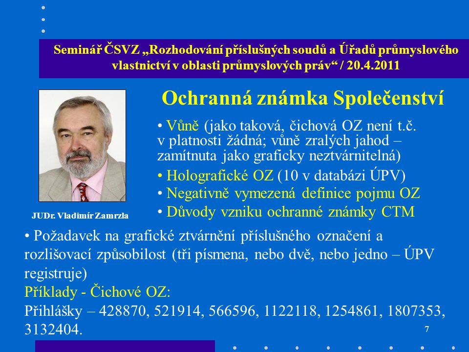 """6 Seminář ČSVZ """"Rozhodování příslušných soudů a Úřadů průmyslového vlastnictví v oblasti průmyslových práv"""" / 20.4.2011 JUDr. Vladimír Zamrzla Ochrann"""