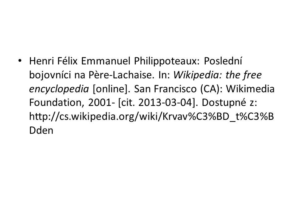 Henri Félix Emmanuel Philippoteaux: Poslední bojovníci na Père-Lachaise.