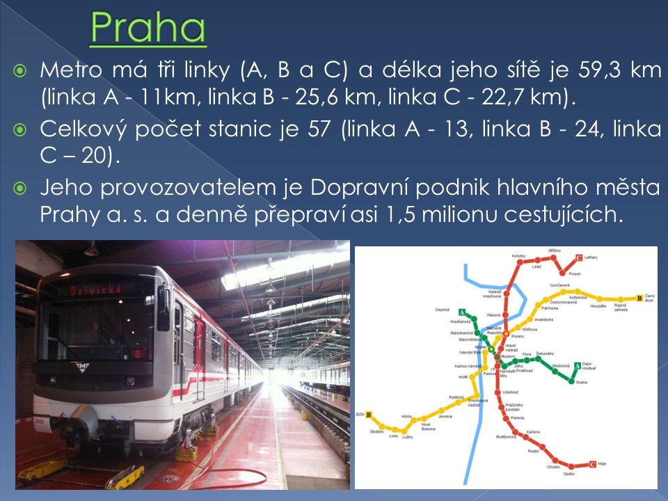 Metro má tři linky (A, B a C) a délka jeho sítě je 59,3 km (linka A - 11km, linka B - 25,6 km, linka C - 22,7 km).
