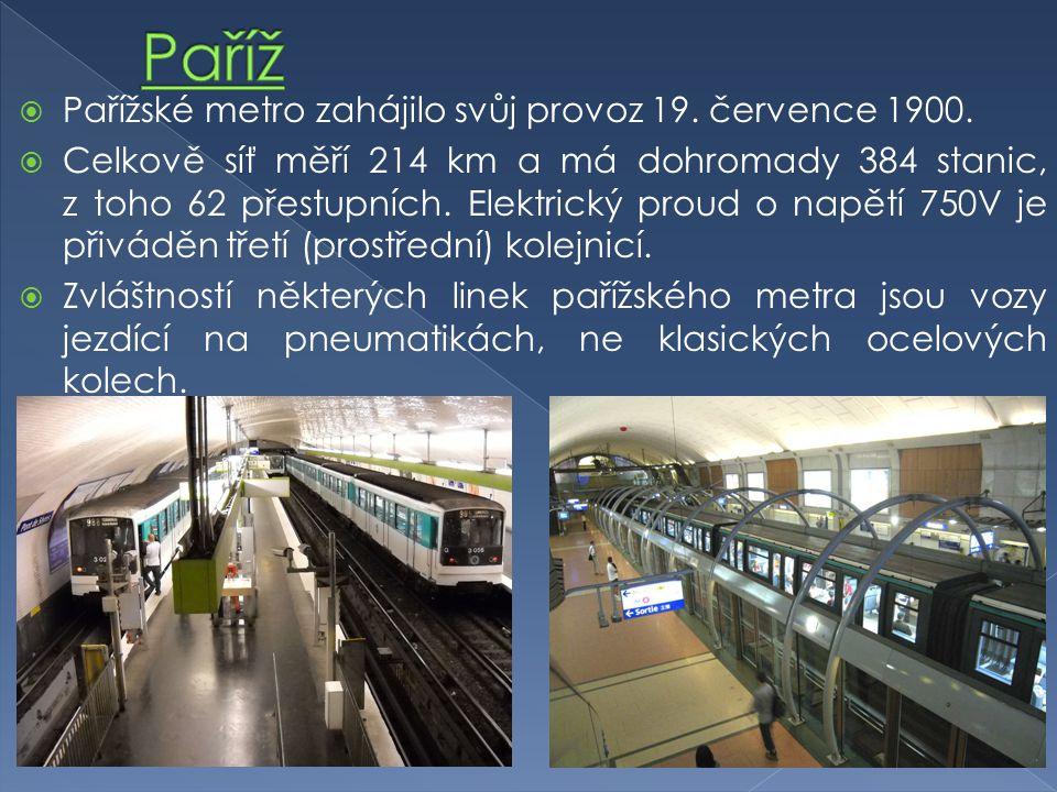  Pařížské metro zahájilo svůj provoz 19. července 1900.